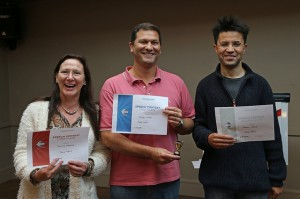 Area 15 Table Topics Contest Winners, L-R: Pauline Westrop (3rd place), Andrew Miller (1st place), Trevor Hatib (2nd place)